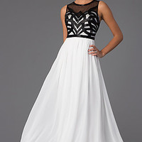 Sleeveless Floor Length Dress with Sheer Embellished Bodice