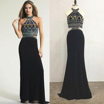 vestido de baile 2015 New Arrival Luxury Beaded Mermaid Prom Dress Sexy Halter Black Two Piece Prom Dresses Formal Evening Dress