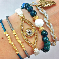 On Sale- Truly Teal Arm Candy Stacked Bracelet Set