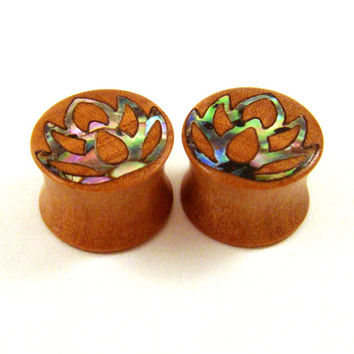 "Abalone Lotus Flower Inlay in Olivewood Plugs PAIR 00g (10mm) 7/16"" (11mm) 1/2"" (13mm) 9/16"" (14mm) 5/8"" (16mm) 3/4"" (19mm) Wood Ear Guages"