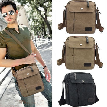 New Men's Vintage Canvas Multifunction Travel Satchel / Messenger Shoulder Bag 7_S [7654375942]