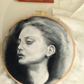 Unusual Painting Portrait on fabric - woman -  hoop art  - black and white - girl fac  - wall decor - textile art