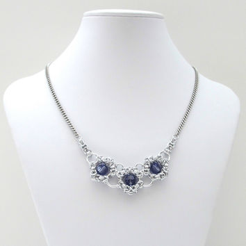 Tanzanite crystal chainmaille necklace