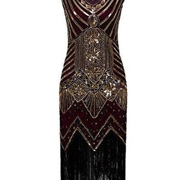 Women 1920s Gatsby Sequin Art Nouveau Embellished Fringed Flapper Dress