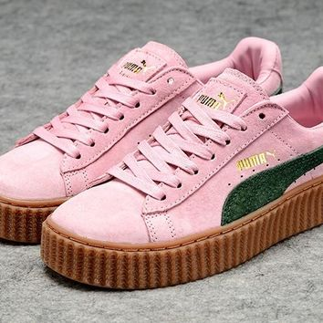 Fenty Rihanna by Puma Creepers Pink Green Suede Women's Shoes