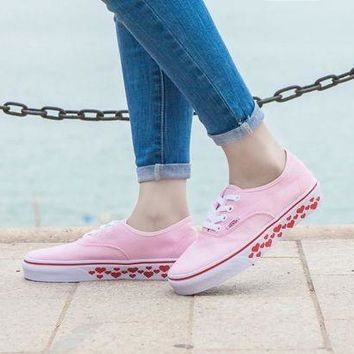 VONEO5 Design For Valentine's Day Vans AUTHENTIC Light Pink Sneaker Leisure Shoes