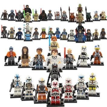 8pcs/lot Star Wars Figure Set Stormtrooper Kylo Ren Darth Vader Padme Luke Mace Windu Yoda R2d2 Starwars Building Blocks Toys