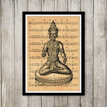 God print Old paper art Hindu poster Music notes print NP052