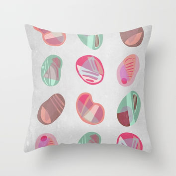 Vintage Pebbles Throw Pillow by vivigonzalezart