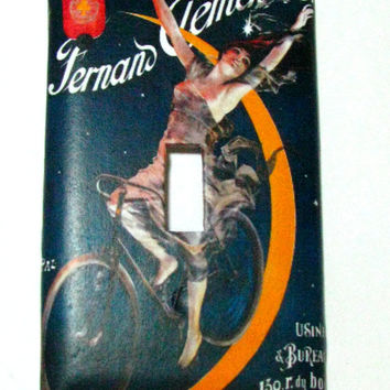 Light Switch Cover - Light Switch Plate Fernand Clement & Co  French Vintage Bicycle Ad