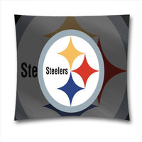 Mama NFL Pittsburgh Steelers Cotton Throw Pillowcase with Zipper for Baseball Fans 18x18 Inch (45x45 Cm)