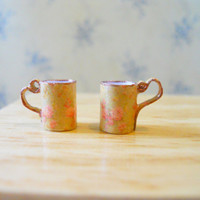 Green Floral  Dollhouse Miniature Mugs Cups  1:12 scale