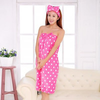 JJ196 High Quality Women's Cute Dot Bath Towel Set With Hair Band Bathrobe Home Textile Items Gear Stuff Accessories Supplies