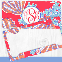 Red Blue Coral Sea Shells Monogram License Plate Frame Holder Metal Wall Sign Tags Personalized Custom Vanity