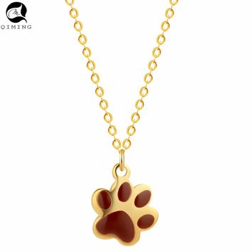 QIMING Cute Cat Dog Bear Paw Necklace Chokers Vintage Fine Jewelry Animal Pendant Gold Necklace Women Men Gift Birthday