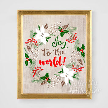 Christmas Decoration wall art printable, Joy to the world, Christmas art holiday print, Christian Christmas decor, Seasons greeting