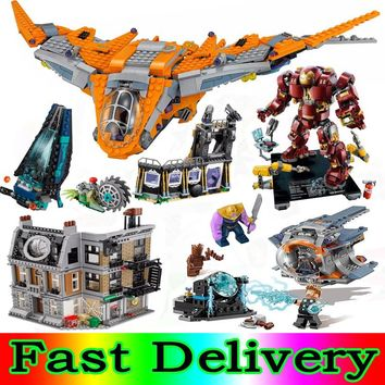 Lepin Marvel Super Heroes  Thanos Gamora Thor Weapon Quest legoINGly AVENGERS 3 Infinity War Building Blocks Bricks Toys