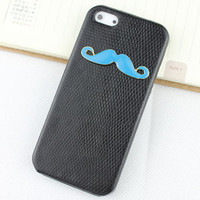 Blue moustache And Black Hard Skins Leather Case Cover for Apple iPhone5 Case, iPhone 5 Cover,iPhone 5 Case, iPhone 5g