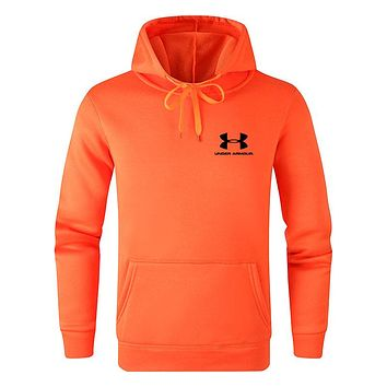 Under Armour Autumn And Winter Fashion New Letter Print Women Men Hooded Long Sleeve Sweater Orange