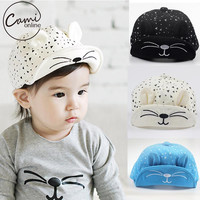 Cute Baby Cartoon Cat Hat Kids Baseball Cap Palm Newborn Infant Boy Girl Beanies Soft Cotton Caps Infant Visors Sun Hat