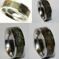 Fancy - Camo Wedding Band - Titanium Ring