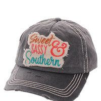 Sweet Sassy & Southern Distressed Baseball Cap Hat Black, Embroidered On Torn Denim Decor