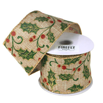 Holly Leaf Burlap Holiday Christmas Ribbon Wired Edge, 2-1/2-Inch, 10 Yards, Natural/Green