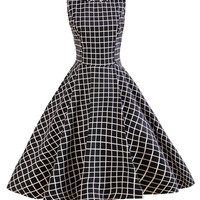Black Plaid Sleeveless Sheath Tent Mini Dress