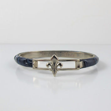 Italian Snakeskin Leather Bracelet, Fleur De Lis Blue Leather Bangle Bracelet, Vintage Florence ItalyJewelry, Leather Stacking Bracelets
