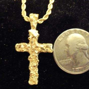bling 14kt yellow gold plated god jesus religious christian nugget cross crucifix pendant charm 24 in rope chain trendy fashion necklace jewelry hip hop