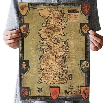Game of Thrones Westeros Map Vintage Kraft Paper Classic Movie Poster  Home Garage Wall Decoration DIY Retro Prints Post It