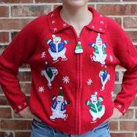 Ugly Christmas Holiday Winter Sweater vintage snowman ice skating sequin detail