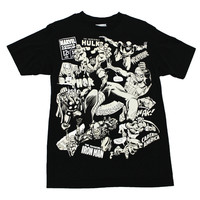 Retro Style Black/White Marvel Comics Shirt Mens Size Small