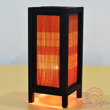 Oriental Bamboo Blind Table Lantern Bedroom Lighting Home Decorate Lamp Vintage House Furniture Decoration