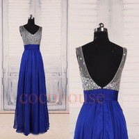 Dark Royal Blue Beaded Long Prom Dresses, Bridesmaid Dresses,Open Back Evening Dresses,Homecoming Dress, Party Dress, Wedding Party Dresses