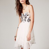 Free People Womens Floral Bodice Mini Dress