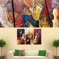 Jazz Orchestra Music Painting On Canvas Fine Art Size 47 x 32 Inch 006