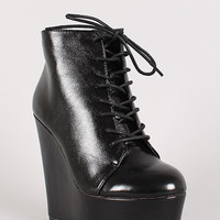 Tigresa Round Toe Lace Up Platform Wedge Bootie