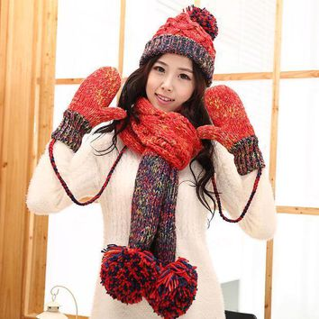 Knitted Hat Scarf Gloves Female Winter Thermal Knitted Set Women's Piece Set Christmas Gift