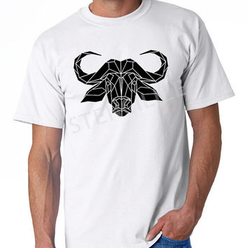 Men's tshirt, Geometric water buffalo graphic, 100% cotton white tee, faceted buffalo based on original stencil design