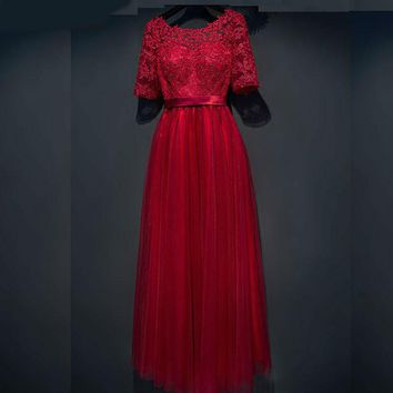 bride evening dress long design new half-sleeve red dinner lace evening party dress lace up prom formal dress