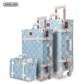 3PCS/SET Spinner Luggage Set Vintage Print suitcase PU Leather Water-resistant Upright Travel Trolley Rolling wheel box