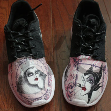 Nike Roshe Run Black White Disney Villains (Maleficent, Cruella, Ursula) V5 Edition Print Custom Men & Women