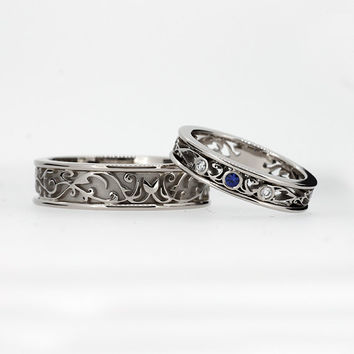 Wedding band set, white gold, sapphire wedding band, mens sapphire ring, filigree, blue sapphire wedding, lace, ring set, men modern ring