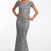 Metallic Lace Dress with Trumpet Skirt