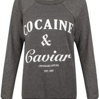 Women's Cocaine And Caviar Print Fleece Sweatshirt Jumper