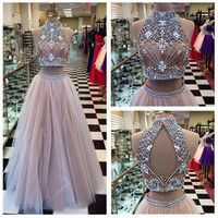 High Neck Two Pieces Prom Dress A-line Champagne Tulle Beaded Bodice Formal Dress APD1632