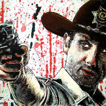 "Print 8x10"" - Rick Grimes - Andrew Lincoln The Walking Dead Horror Zombies Blood Guns Death Dead Evil Monster Creature Disease Pop Art"