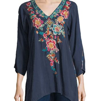 Johnny Was Roma Embroidered Tunic Dawn
