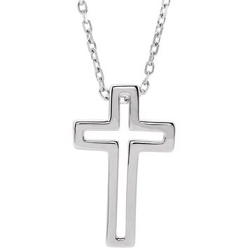 Sterling Silver Small Voided Cross Necklace, 16-18 Inch